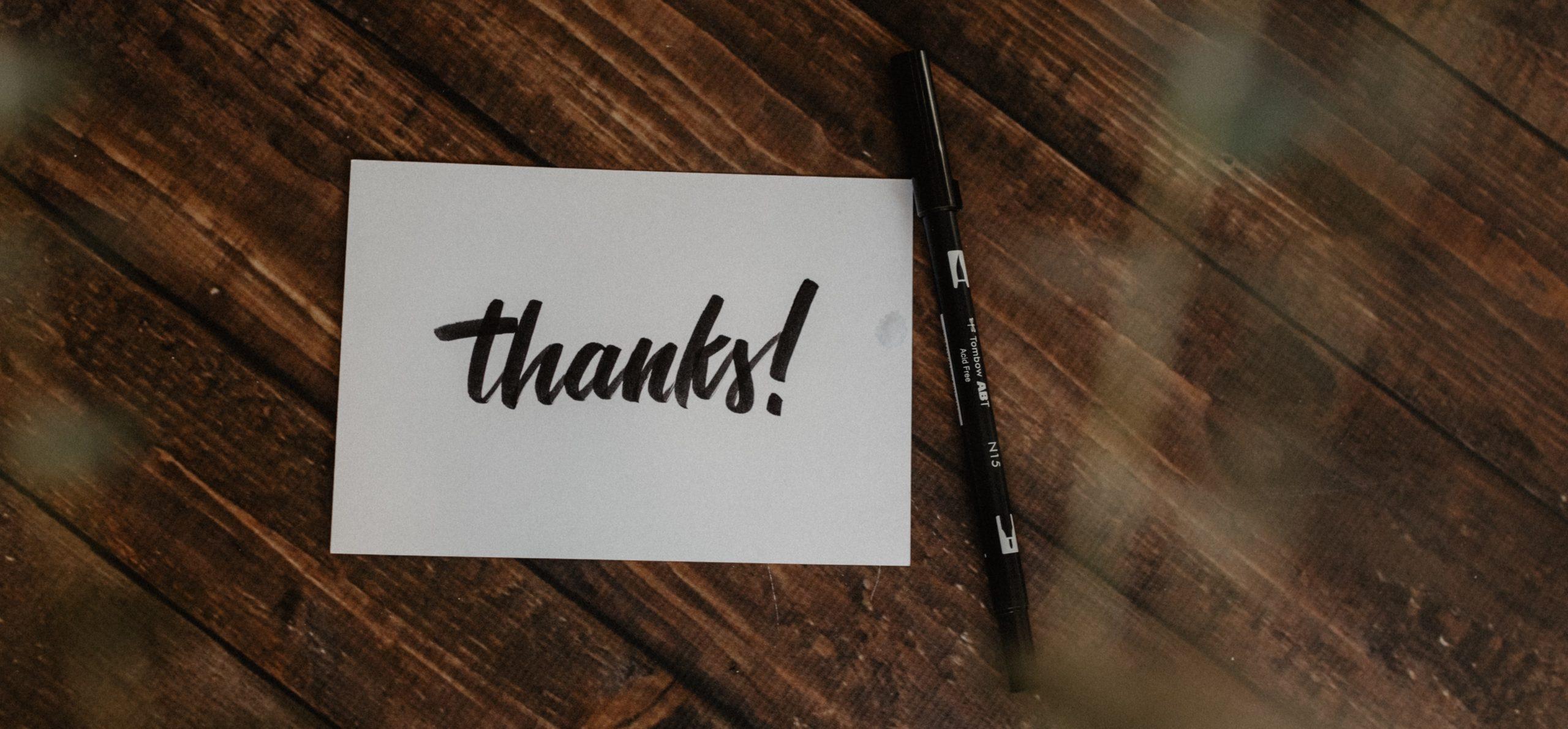 「ありがとう」の一言が言える人間になろう。